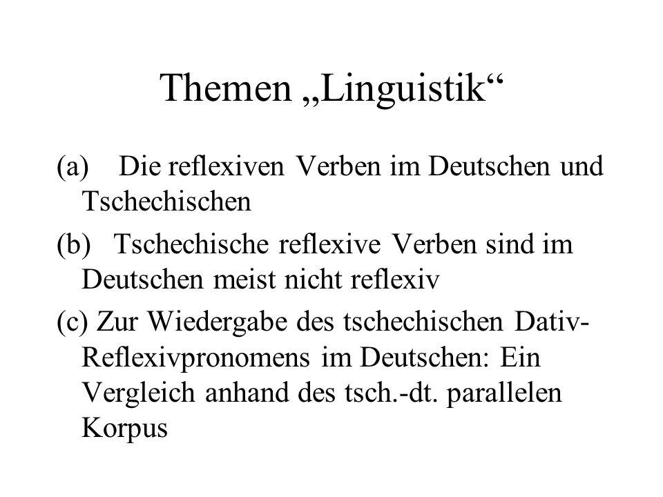 """Themen """"Linguistik"""" (a) Die reflexiven Verben im Deutschen und Tschechischen (b) Tschechische reflexive Verben sind im Deutschen meist nicht reflexiv"""