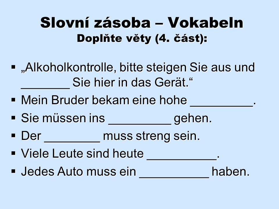 Slovní zásoba – Vokabeln Přeložte věty (3. část):  Musím vyzvednout novou poznávací značku.