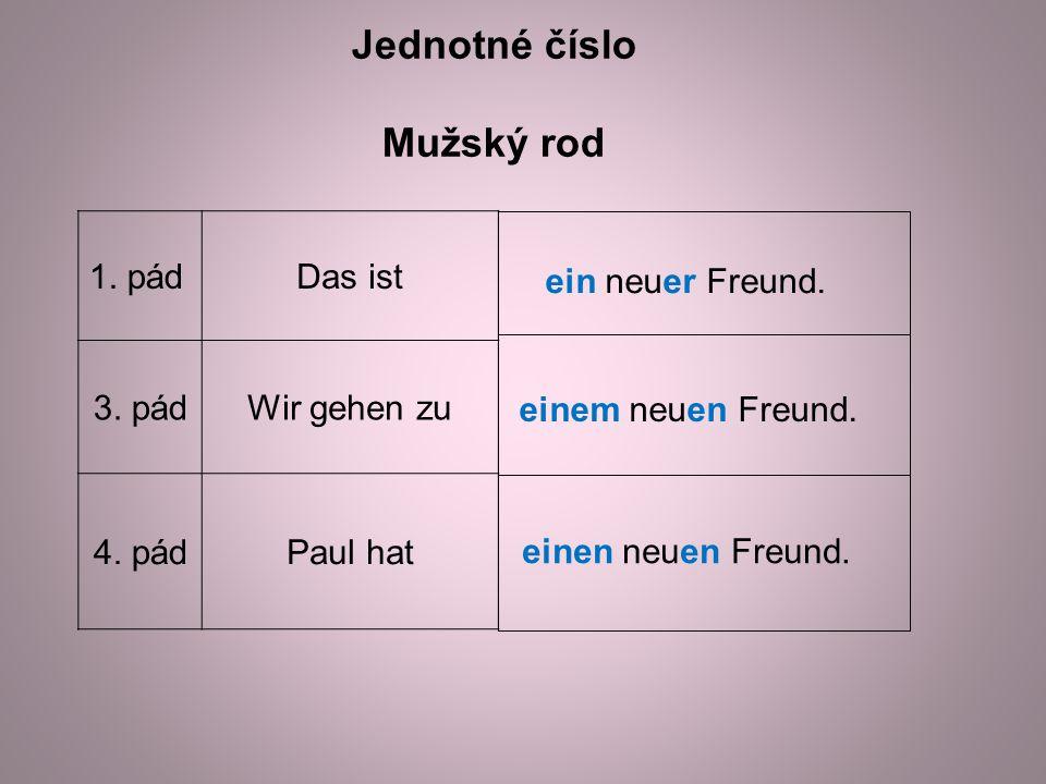 1. pádDas ist 3. pádWir gehen zu 4. pádPaul hat Jednotné číslo Mužský rod ein neuer Freund.