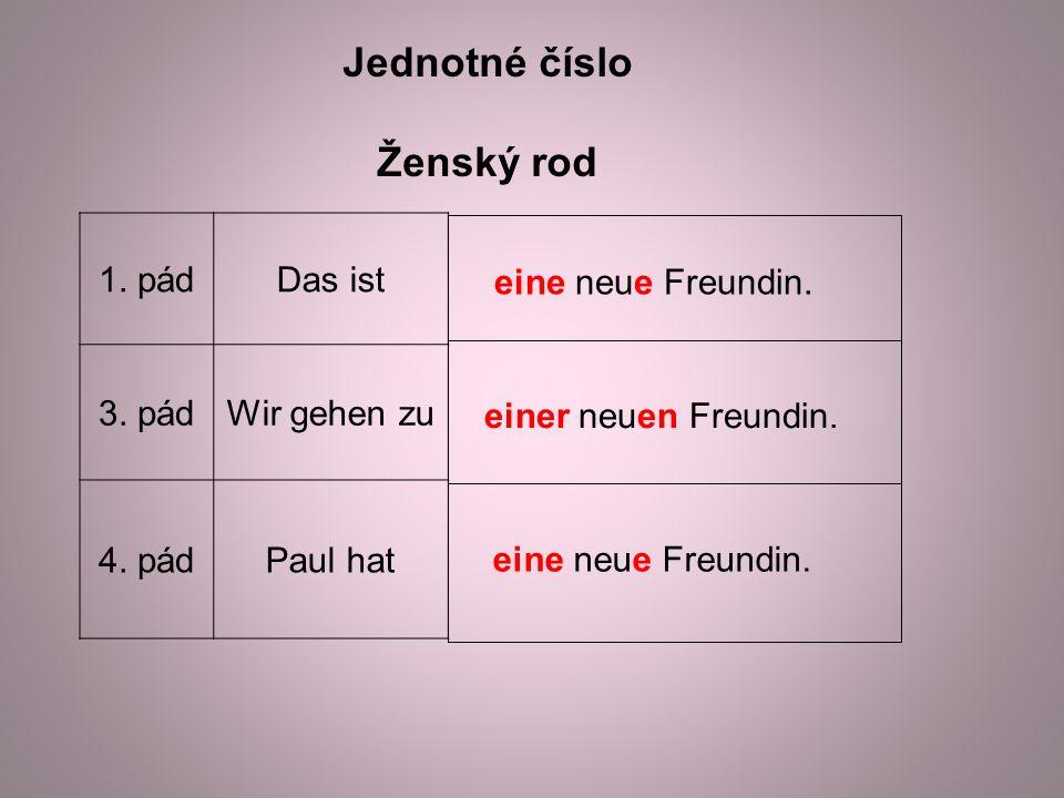 Jednotné číslo Ženský rod 1. pádDas ist 3. pádWir gehen zu 4.