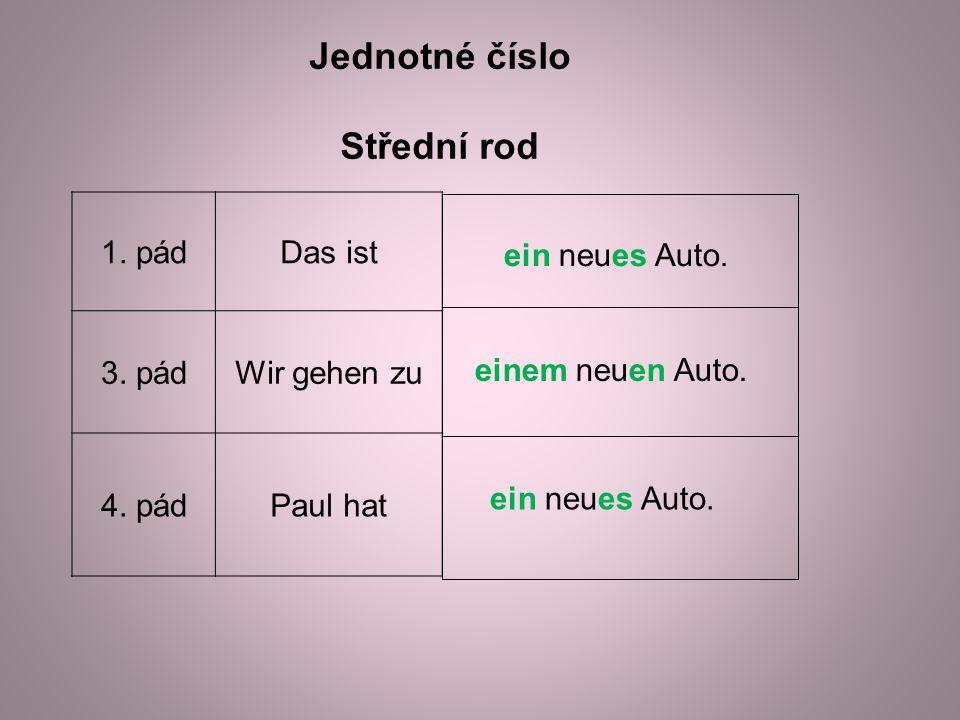 Jednotné číslo Střední rod 1. pádDas ist 3. pádWir gehen zu 4.