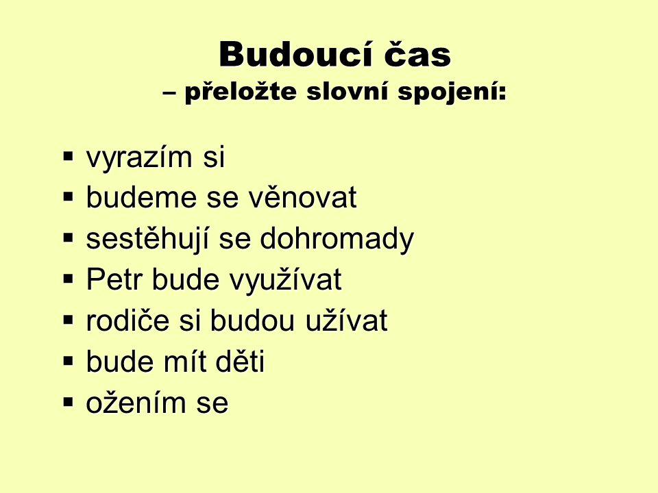 Slovní zásoba – Vokabeln Přeložte věty - řešení (3.
