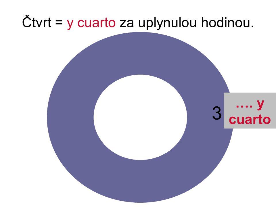 Čtvrt = y cuarto za uplynulou hodinou. 3 …. y cuarto