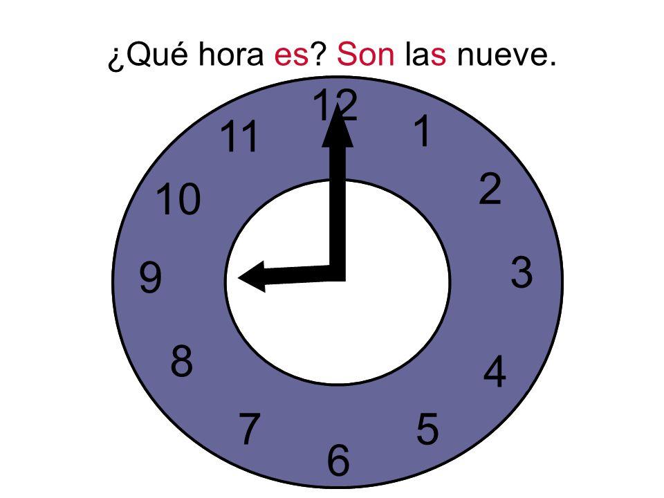 ¿Qué hora es. Son las nueve.