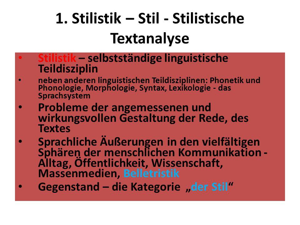 1. Stilistik – Stil - Stilistische Textanalyse Stilistik – selbstständige linguistische Teildisziplin neben anderen linguistischen Teildisziplinen: Ph
