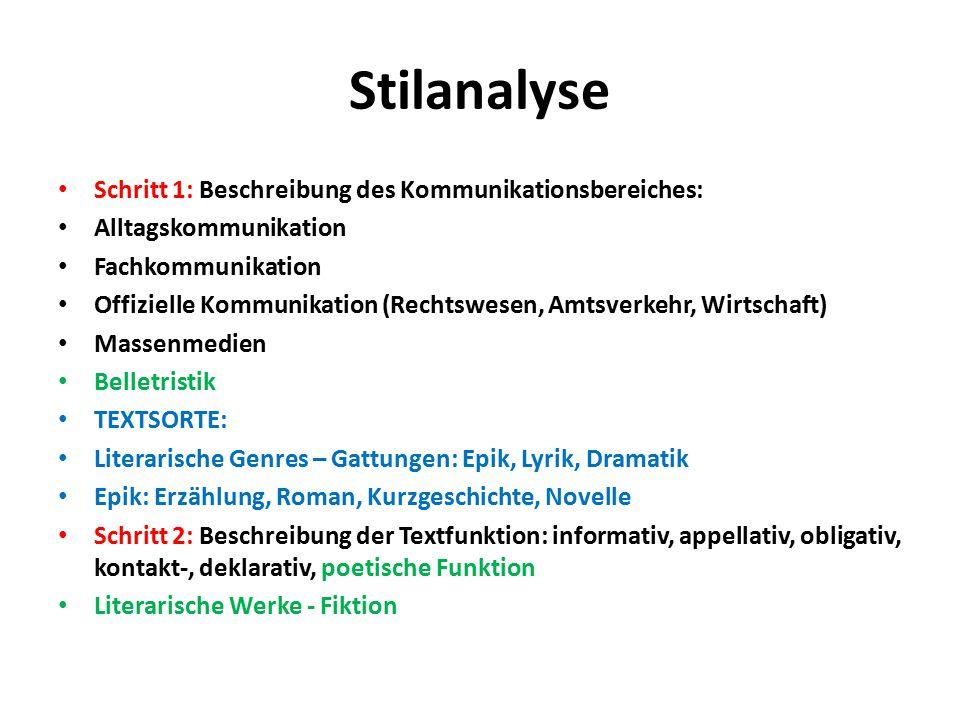 Stilanalyse Schritt 1: Beschreibung des Kommunikationsbereiches: Alltagskommunikation Fachkommunikation Offizielle Kommunikation (Rechtswesen, Amtsver