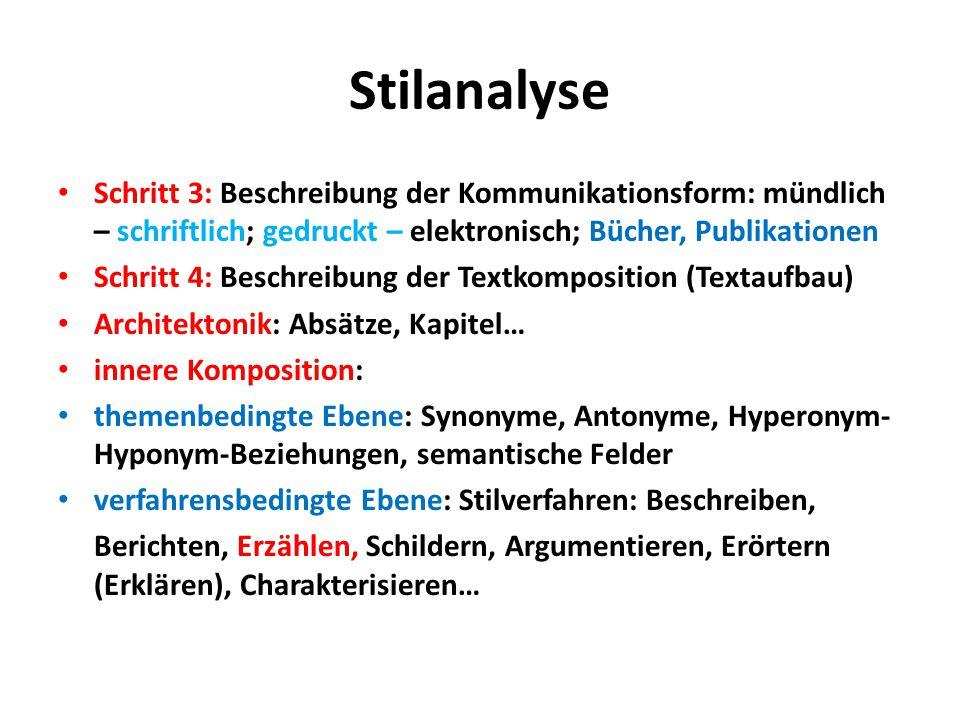 Stilanalyse Schritt 3: Beschreibung der Kommunikationsform: mündlich – schriftlich; gedruckt – elektronisch; Bücher, Publikationen Schritt 4: Beschrei