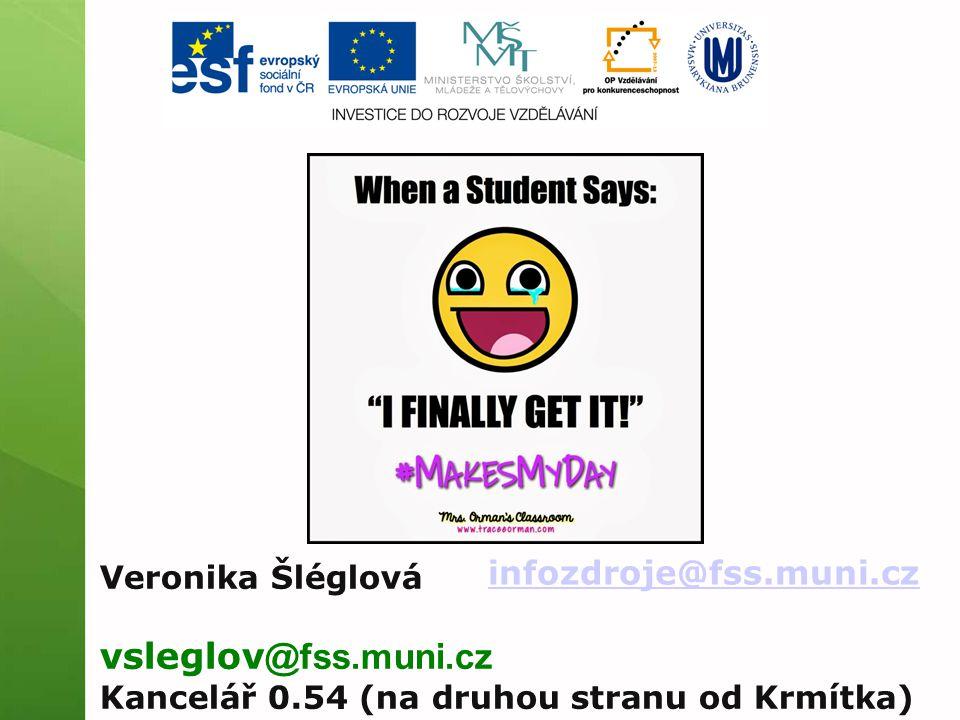 infozdroje@fss.muni.cz Veronika Šléglová vsleglov @fss.muni.cz Kancelář 0.54 (na druhou stranu od Krmítka)