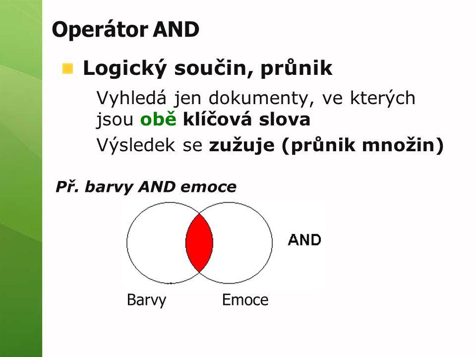 Operátor AND Logický součin, průnik Vyhledá jen dokumenty, ve kterých jsou obě klíčová slova Výsledek se zužuje (průnik množin) Př. barvy AND emoce Ba