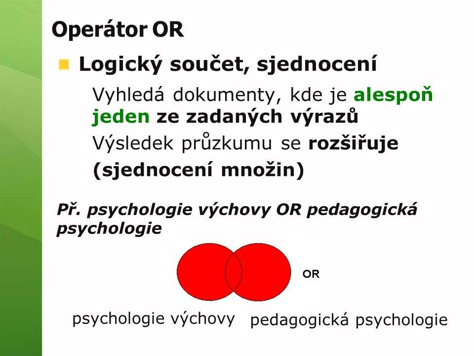 Operátor OR Logický součet, sjednocení Vyhledá dokumenty, kde je alespoň jeden ze zadaných výrazů Výsledek průzkumu se rozšiřuje (sjednocení množin) P