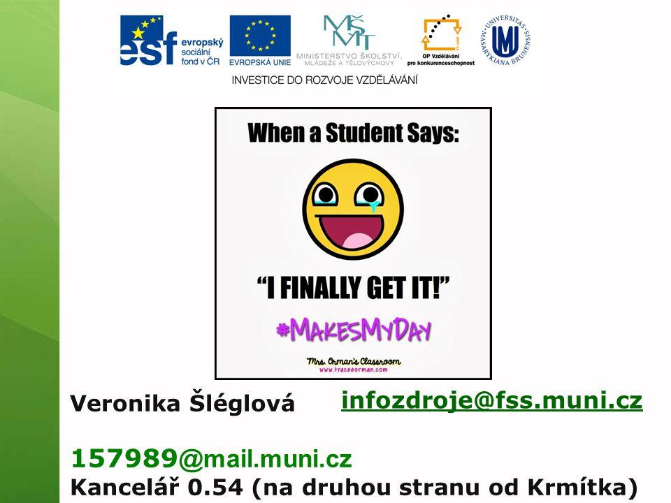 infozdroje@fss.muni.cz Veronika Šléglová 157989 @mail.muni.cz Kancelář 0.54 (na druhou stranu od Krmítka)