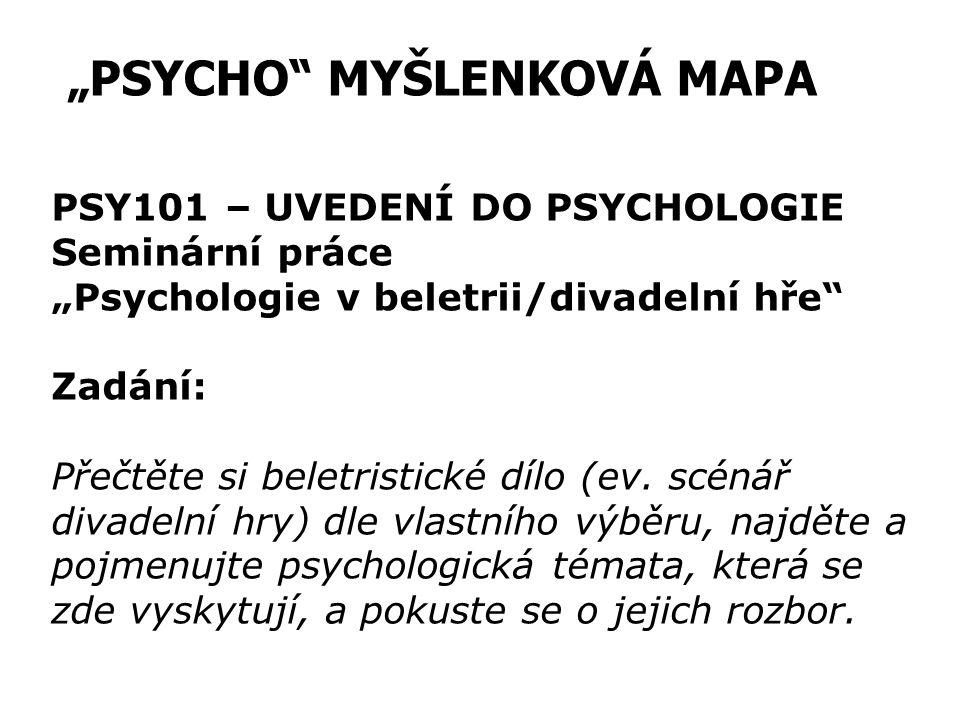 """""""PSYCHO"""" MYŠLENKOVÁ MAPA PSY101 – UVEDENÍ DO PSYCHOLOGIE Seminární práce """"Psychologie v beletrii/divadelní hře"""" Zadání: Přečtěte si beletristické dílo"""