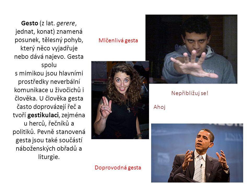Funkce gest: Gesta naznačují určitou ideu.Např.