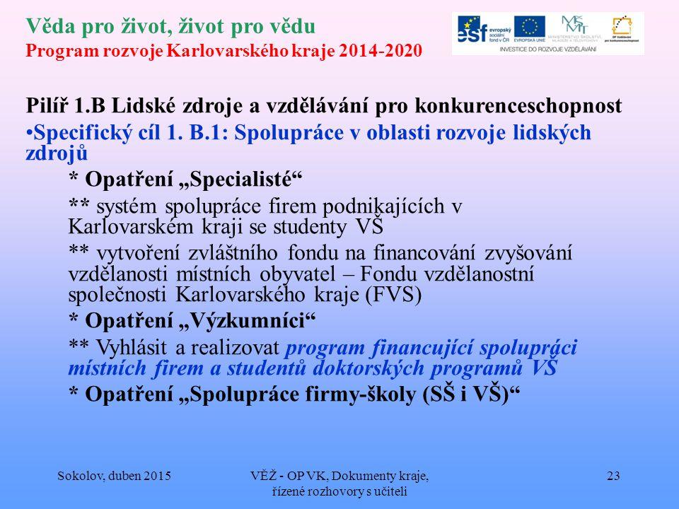 Věda pro život, život pro vědu Program rozvoje Karlovarského kraje 2014-2020 Pilíř 1.B Lidské zdroje a vzdělávání pro konkurenceschopnost Specifický cíl 1.