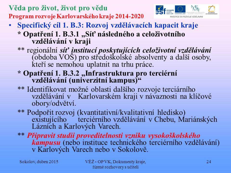 Věda pro život, život pro vědu Program rozvoje Karlovarského kraje 2014-2020 Specifický cíl 1.