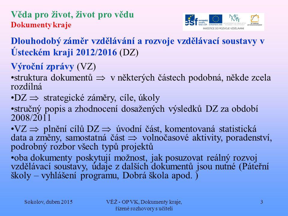 Věda pro život, život pro vědu Dokumenty kraje Dlouhodobý záměr vzdělávání a rozvoje vzdělávací soustavy v Ústeckém kraji 2012/2016 (DZ) Výroční zprávy (VZ) struktura dokumentů  v některých částech podobná, někde zcela rozdílná DZ  strategické záměry, cíle, úkoly stručný popis a zhodnocení dosažených výsledků DZ za období 2008/2011 VZ  plnění cílů DZ  úvodní část, komentovaná statistická data a změny, samostatná část  volnočasové aktivity, poradenství, podrobný rozbor všech typů projektů oba dokumenty poskytují možnost, jak posuzovat reálný rozvoj vzdělávací soustavy, údaje z dalších dokumentů jsou nutné (Páteřní školy – vyhlášení programu, Dobrá škola apod.