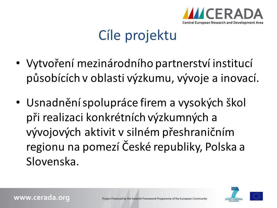 Cíle projektu Vytvoření mezinárodního partnerství institucí působících v oblasti výzkumu, vývoje a inovací. Usnadnění spolupráce firem a vysokých škol