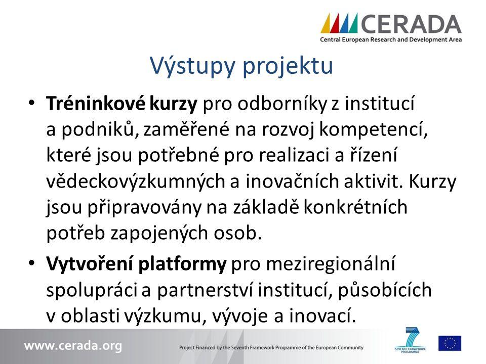 Výstupy projektu Tréninkové kurzy pro odborníky z institucí a podniků, zaměřené na rozvoj kompetencí, které jsou potřebné pro realizaci a řízení vědeckovýzkumných a inovačních aktivit.