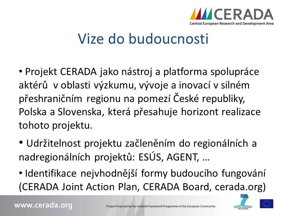Vize do budoucnosti Projekt CERADA jako nástroj a platforma spolupráce aktérů v oblasti výzkumu, vývoje a inovací v silném přeshraničním regionu na pomezí České republiky, Polska a Slovenska, která přesahuje horizont realizace tohoto projektu.