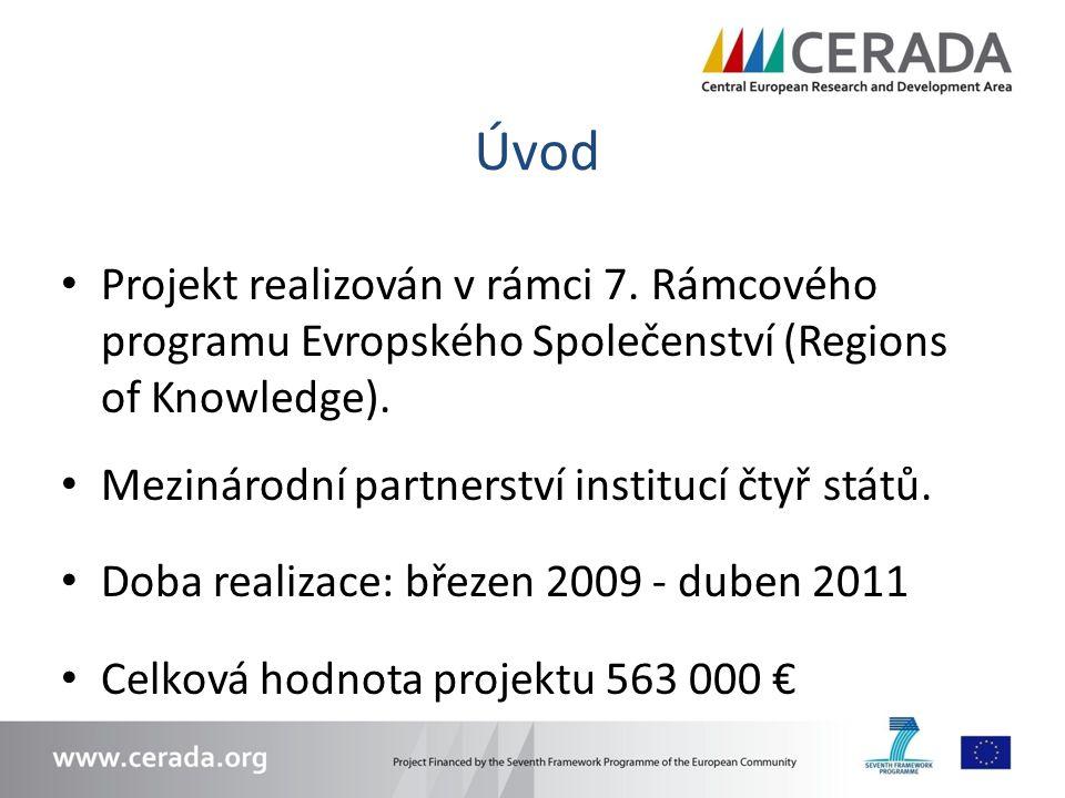 Úvod Projekt realizován v rámci 7. Rámcového programu Evropského Společenství (Regions of Knowledge). Mezinárodní partnerství institucí čtyř států. Do