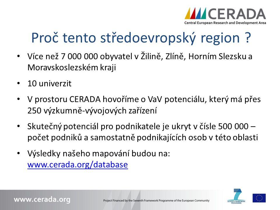 Proč tento středoevropský region ? Více než 7 000 000 obyvatel v Žilině, Zlíně, Horním Slezsku a Moravskoslezském kraji 10 univerzit V prostoru CERADA