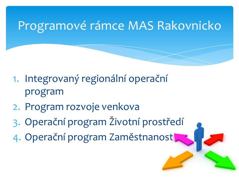 1.Integrovaný regionální operační program 2.Program rozvoje venkova 3.Operační program Životní prostředí 4.Operační program Zaměstnanost Programové rá