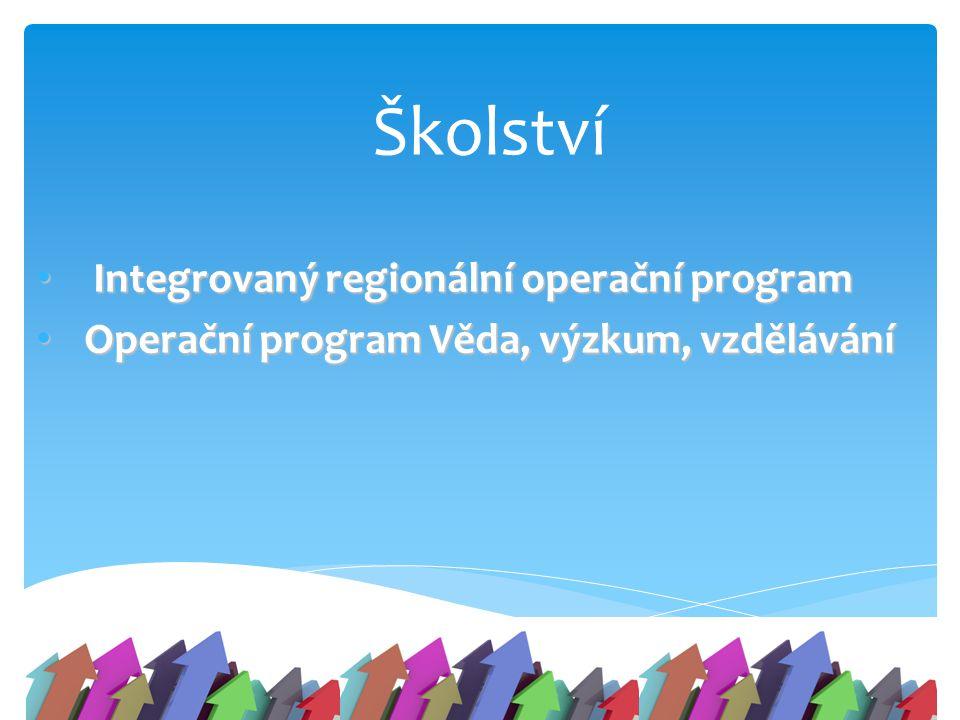 Školství Integrovaný regionální operační program Integrovaný regionální operační program Operační program Věda, výzkum, vzdělávání Operační program Vě
