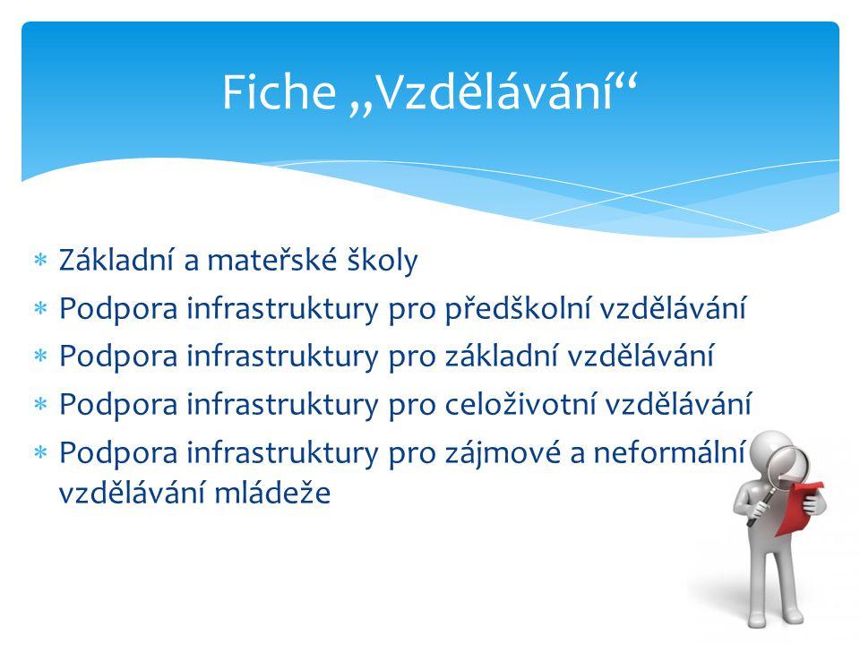  Základní a mateřské školy  Podpora infrastruktury pro předškolní vzdělávání  Podpora infrastruktury pro základní vzdělávání  Podpora infrastruktu