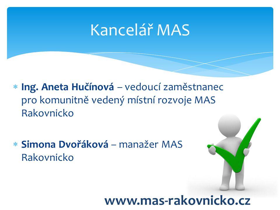  Ing. Aneta Hučínová – vedoucí zaměstnanec pro komunitně vedený místní rozvoje MAS Rakovnicko  Simona Dvořáková – manažer MAS Rakovnicko Kancelář MA