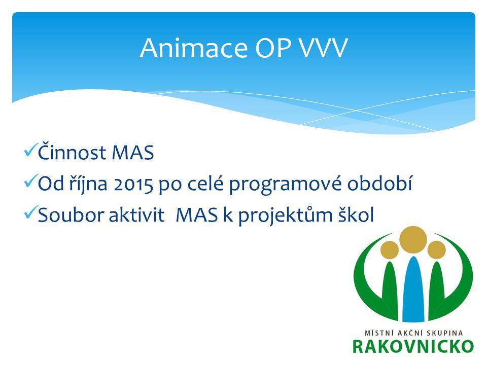 Animace OP VVV Činnost MAS Od října 2015 po celé programové období Soubor aktivit MAS k projektům škol
