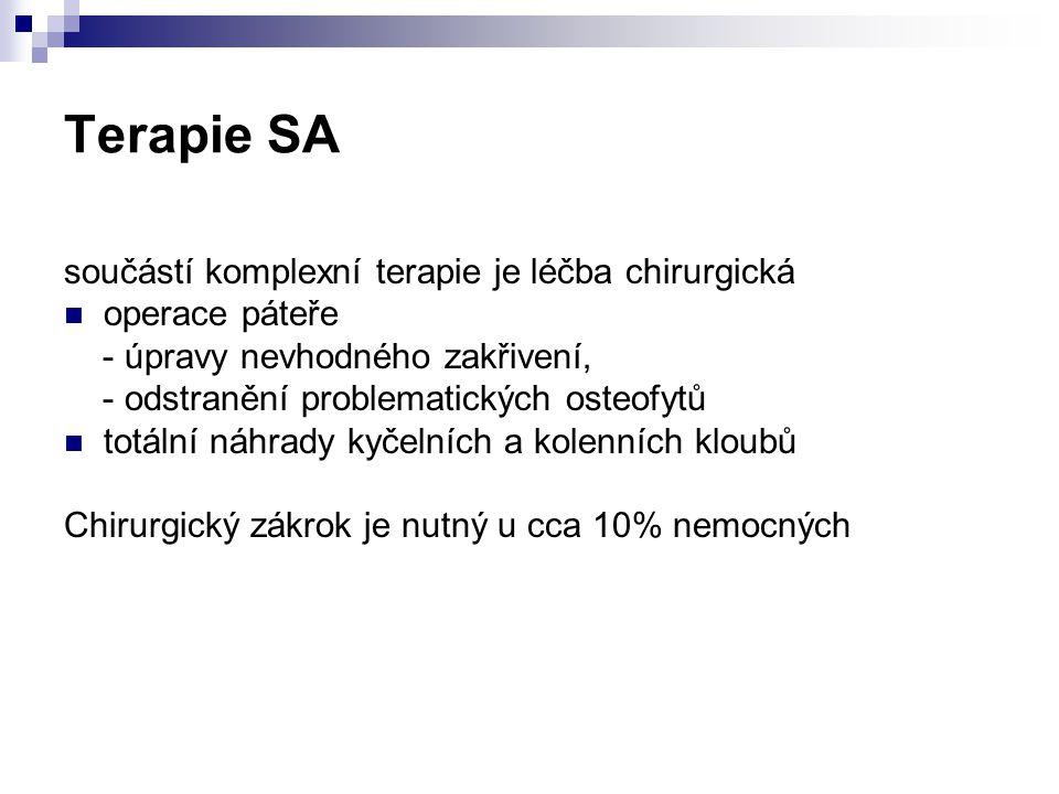 Terapie SA součástí komplexní terapie je léčba chirurgická operace páteře - úpravy nevhodného zakřivení, - odstranění problematických osteofytů totáln