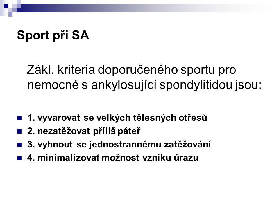 Sport při SA Zákl. kriteria doporučeného sportu pro nemocné s ankylosující spondylitidou jsou: 1. vyvarovat se velkých tělesných otřesů 2. nezatěžovat