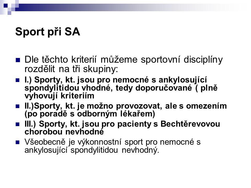 Sport při SA Dle těchto kriterií můžeme sportovní disciplíny rozdělit na tři skupiny: I.) Sporty, kt. jsou pro nemocné s ankylosující spondylitidou vh