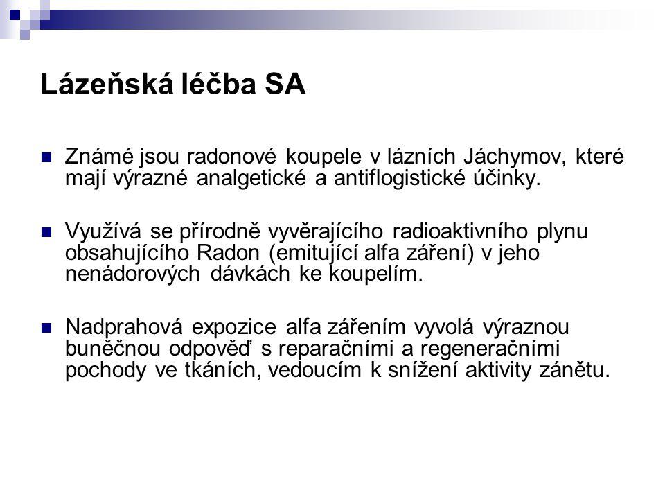 Lázeňská léčba SA Známé jsou radonové koupele v lázních Jáchymov, které mají výrazné analgetické a antiflogistické účinky. Využívá se přírodně vyvěraj