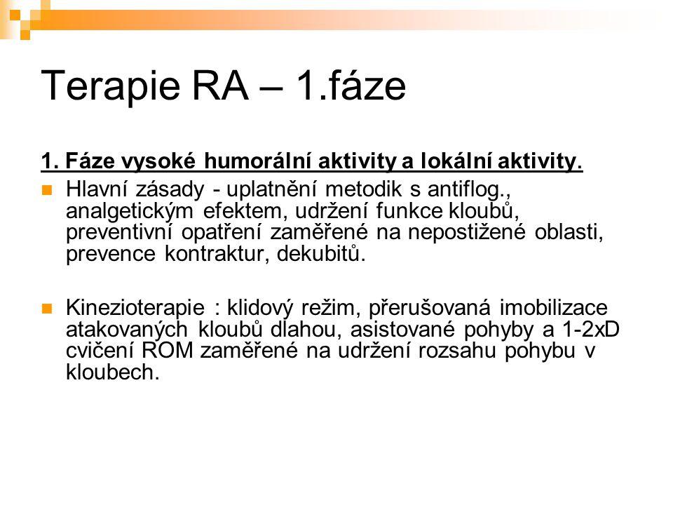 Terapie RA – 1.fáze 1. Fáze vysoké humorální aktivity a lokální aktivity. Hlavní zásady - uplatnění metodik s antiflog., analgetickým efektem, udržení