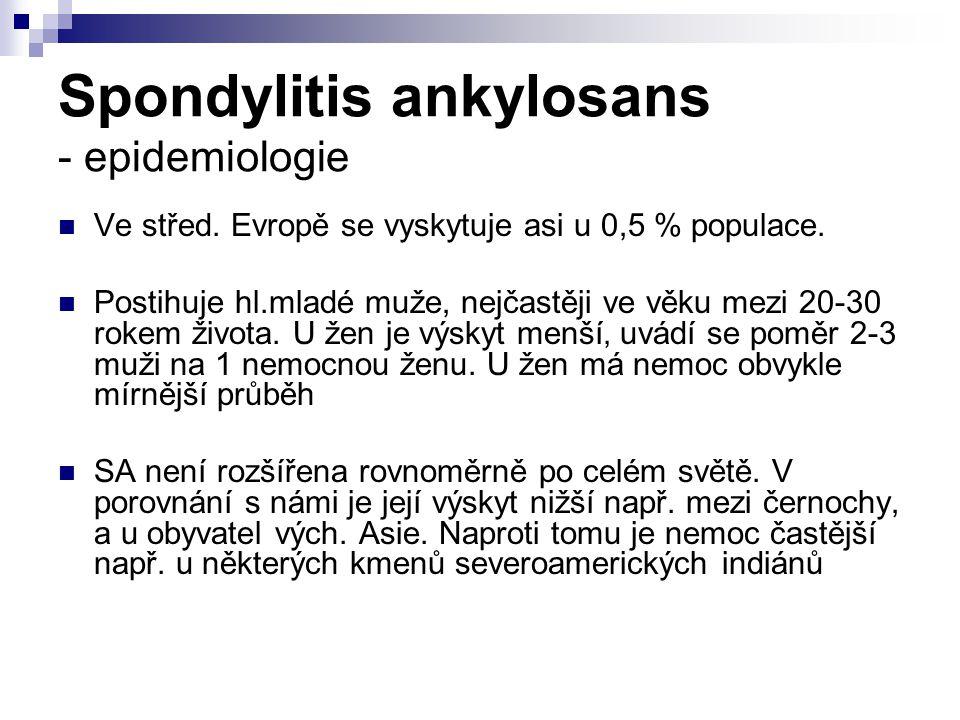 Spondylitis ankylosans - epidemiologie Ve střed. Evropě se vyskytuje asi u 0,5 % populace. Postihuje hl.mladé muže, nejčastěji ve věku mezi 20-30 roke