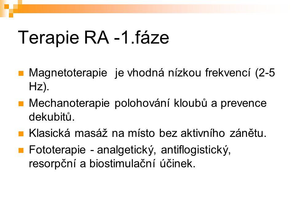 Terapie RA -1.fáze Magnetoterapie je vhodná nízkou frekvencí (2-5 Hz). Mechanoterapie polohování kloubů a prevence dekubitů. Klasická masáž na místo b