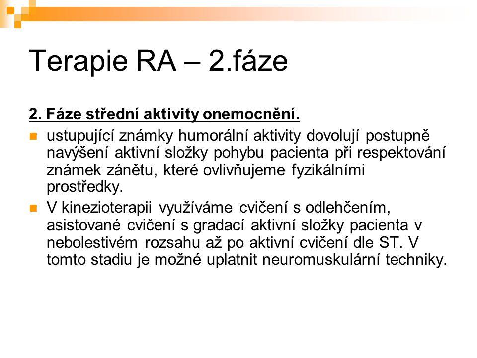 Terapie RA – 2.fáze 2. Fáze střední aktivity onemocnění. ustupující známky humorální aktivity dovolují postupně navýšení aktivní složky pohybu pacient