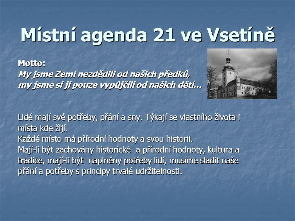 Místní agenda 21 ve Vsetíně Motto: My jsme Zemi nezdědili od našich předků, my jsme si ji pouze vypůjčili od našich dětí… Lidé mají své potřeby, přání a sny.