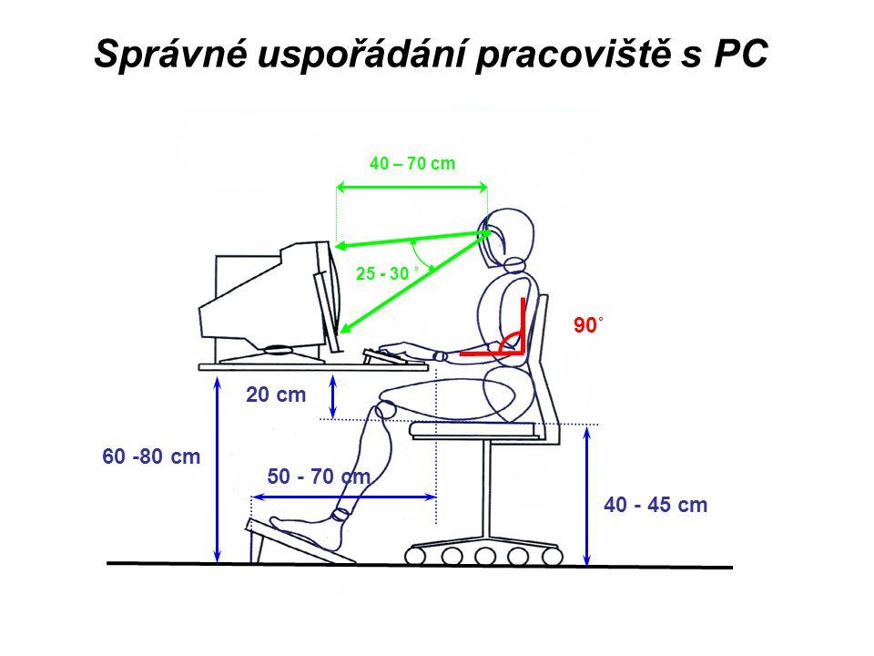 Správné uspořádání pracoviště s PC 40 - 45 cm 20 cm 50 - 70 cm 60 -80 cm 25 - 30 ˚ 40 – 70 cm 90˚