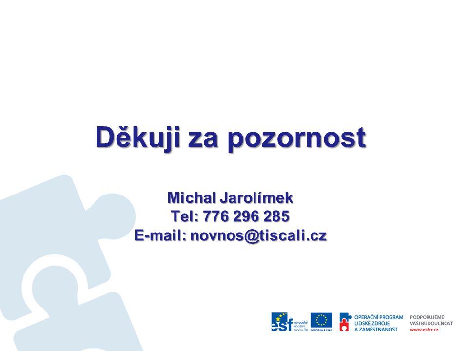 Děkuji za pozornost Michal Jarolímek Tel: 776 296 285 E-mail: novnos@tiscali.cz