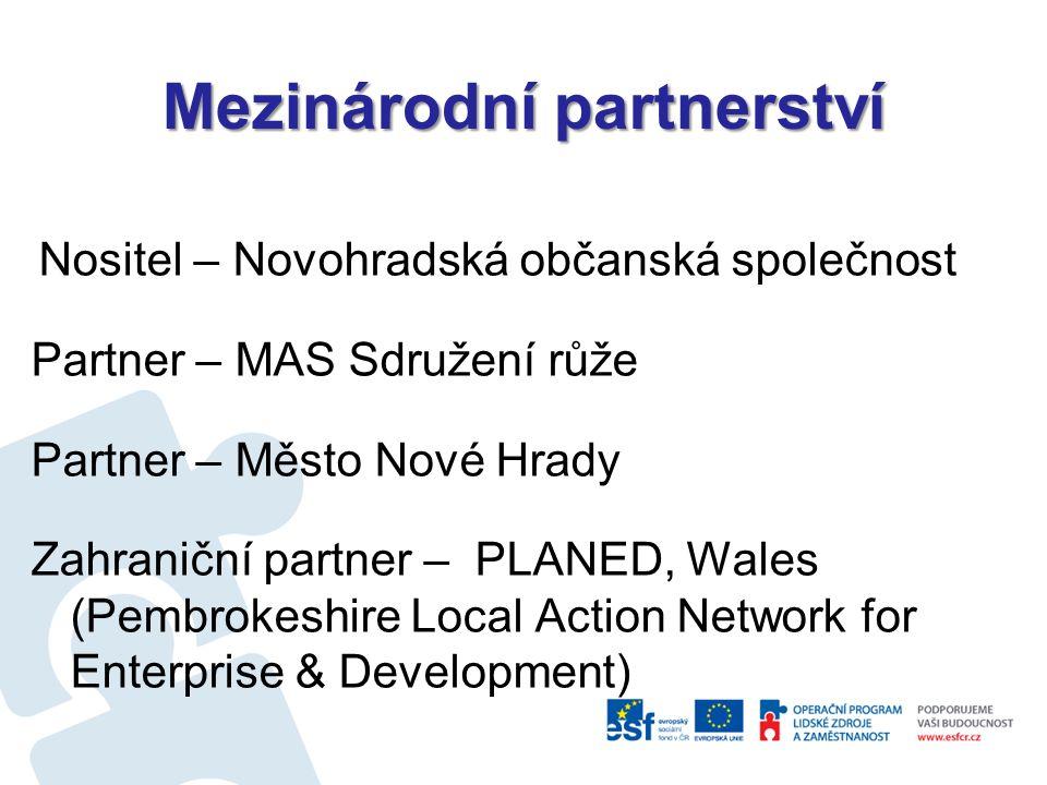 Mezinárodní partnerství Nositel – Novohradská občanská společnost Partner – MAS Sdružení růže Partner – Město Nové Hrady Zahraniční partner – PLANED, Wales (Pembrokeshire Local Action Network for Enterprise & Development)