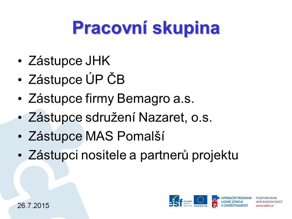 Pracovní skupina Zástupce JHK Zástupce ÚP ČB Zástupce firmy Bemagro a.s.