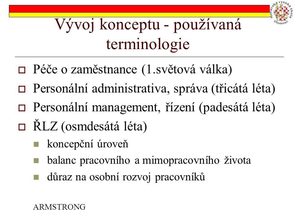 Vývoj konceptu - používaná terminologie  Péče o zaměstnance (1.světová válka)  Personální administrativa, správa (třicátá léta)  Personální management, řízení (padesátá léta)  ŘLZ (osmdesátá léta) koncepční úroveň balanc pracovního a mimopracovního života důraz na osobní rozvoj pracovníků ARMSTRONG