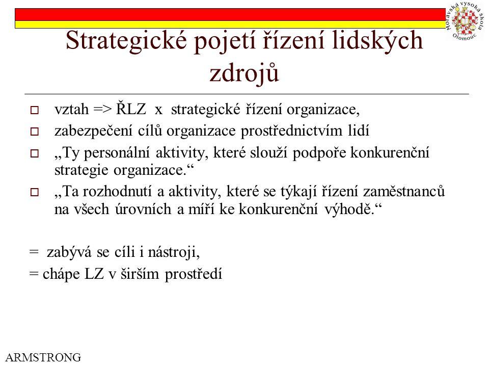"""Strategické pojetí řízení lidských zdrojů  vztah => ŘLZ x strategické řízení organizace,  zabezpečení cílů organizace prostřednictvím lidí  """"Ty personální aktivity, které slouží podpoře konkurenční strategie organizace.  """"Ta rozhodnutí a aktivity, které se týkají řízení zaměstnanců na všech úrovních a míří ke konkurenční výhodě. = zabývá se cíli i nástroji, = chápe LZ v širším prostředí ARMSTRONG"""