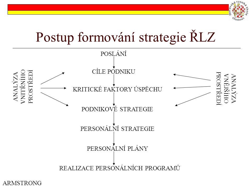 Postup formování strategie ŘLZ ARMSTRONG POSLÁNÍ CÍLE PODNIKU KRITICKÉ FAKTORY ÚSPĚCHU PODNIKOVÉ STRATEGIE PERSONÁLNÍ STRATEGIE PERSONÁLNÍ PLÁNY REALIZACE PERSONÁLNÍCH PROGRAMŮ ANALÝZA VNITŘNÍHO PROSTŘEDÍ ANALÝZA VNĚJŠÍHO PROSTŘEDÍ