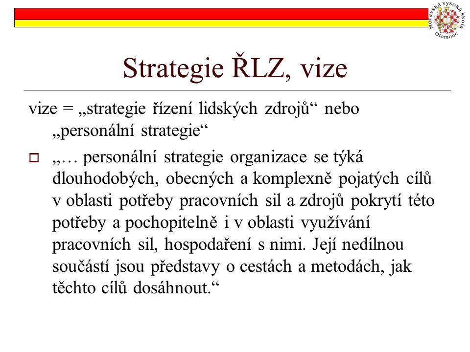 """Strategie ŘLZ, vize vize = """"strategie řízení lidských zdrojů nebo """"personální strategie  """"… personální strategie organizace se týká dlouhodobých, obecných a komplexně pojatých cílů v oblasti potřeby pracovních sil a zdrojů pokrytí této potřeby a pochopitelně i v oblasti využívání pracovních sil, hospodaření s nimi."""