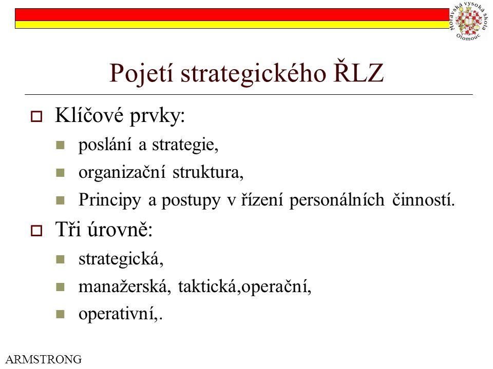 Pojetí strategického ŘLZ  Klíčové prvky: poslání a strategie, organizační struktura, Principy a postupy v řízení personálních činností.