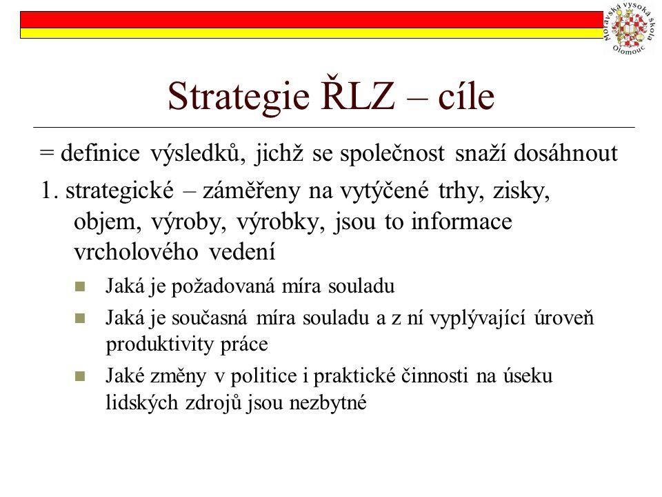 Strategie ŘLZ – cíle = definice výsledků, jichž se společnost snaží dosáhnout 1.