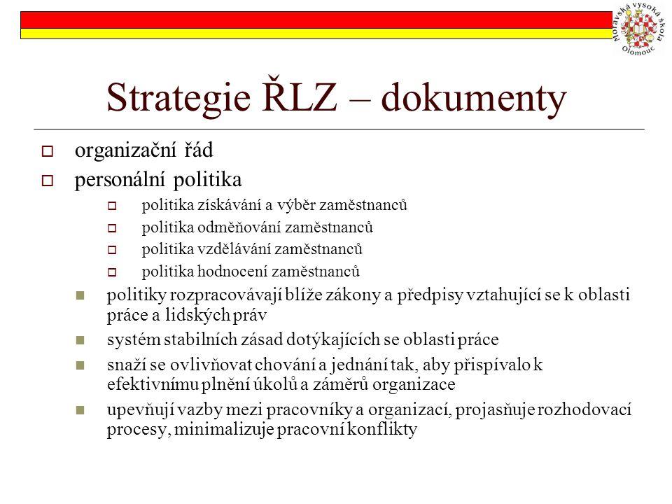 Strategie ŘLZ – dokumenty  organizační řád  personální politika  politika získávání a výběr zaměstnanců  politika odměňování zaměstnanců  politika vzdělávání zaměstnanců  politika hodnocení zaměstnanců politiky rozpracovávají blíže zákony a předpisy vztahující se k oblasti práce a lidských práv systém stabilních zásad dotýkajících se oblasti práce snaží se ovlivňovat chování a jednání tak, aby přispívalo k efektivnímu plnění úkolů a záměrů organizace upevňují vazby mezi pracovníky a organizací, projasňuje rozhodovací procesy, minimalizuje pracovní konflikty